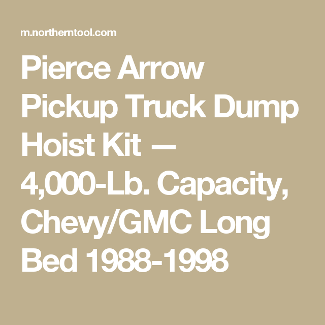 Pierce Arrow Pickup Truck Dump Hoist Kit 4 000 Lb Capacity