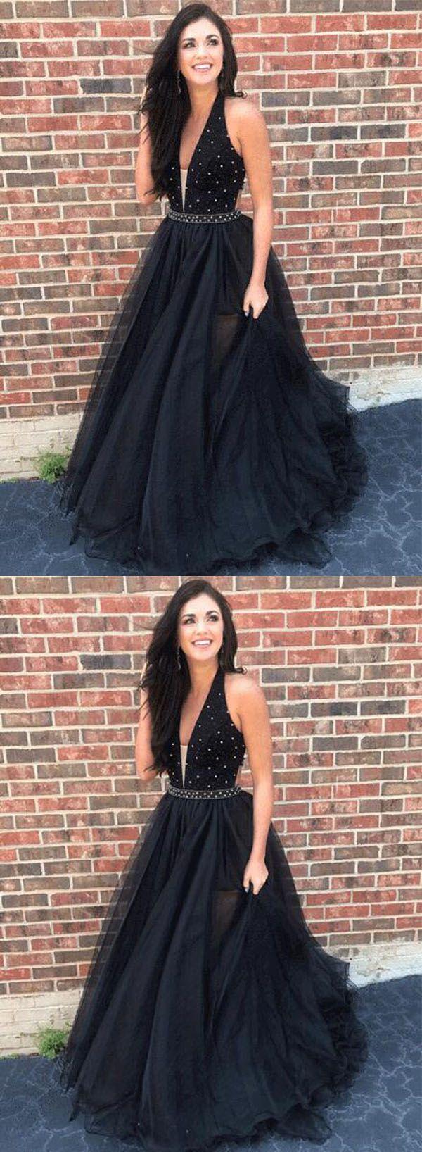 Aline black long promevening dress promdresses blackpromdresses