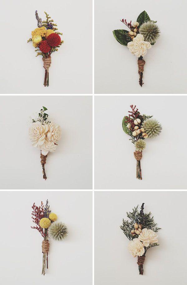 Prendidos de flores secas y preservadas  Boutonnieres made with - flores secas