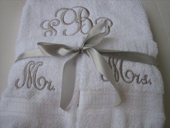 Mr & Mrs Monogram Towel Set - Personalized Wedding Towel Set - One Bath  Towel, 2 Hand Towels