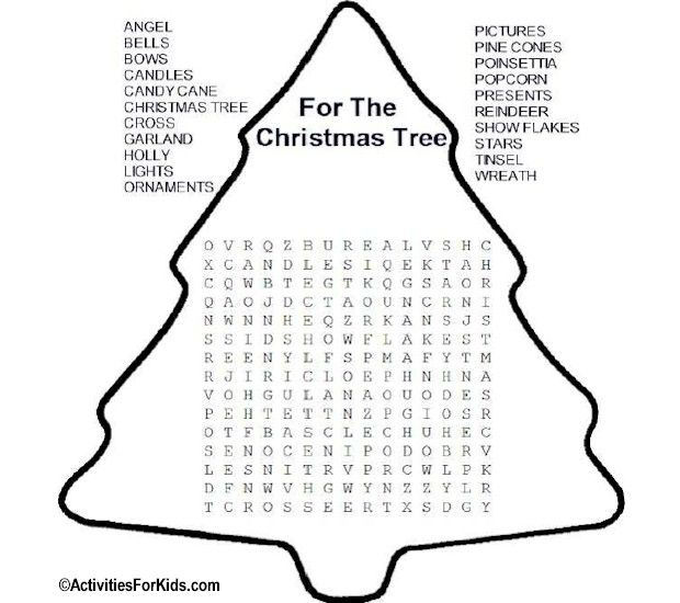 Christmas Tree Word Search Activities For Kids Christmas Word Search Christmas Games For Kids Holiday Crafts For Kids