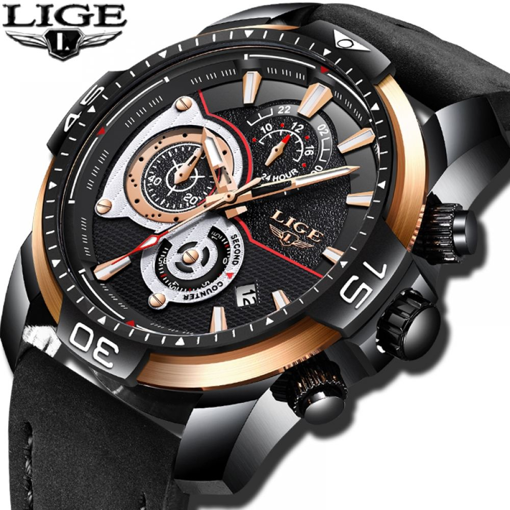 Lige Mens Watches Top Brand Luxury Business Leather Watch Men Military Waterproof Sport Quartz Mens Watches Leather Watches For Men Unique Best Watches For Men