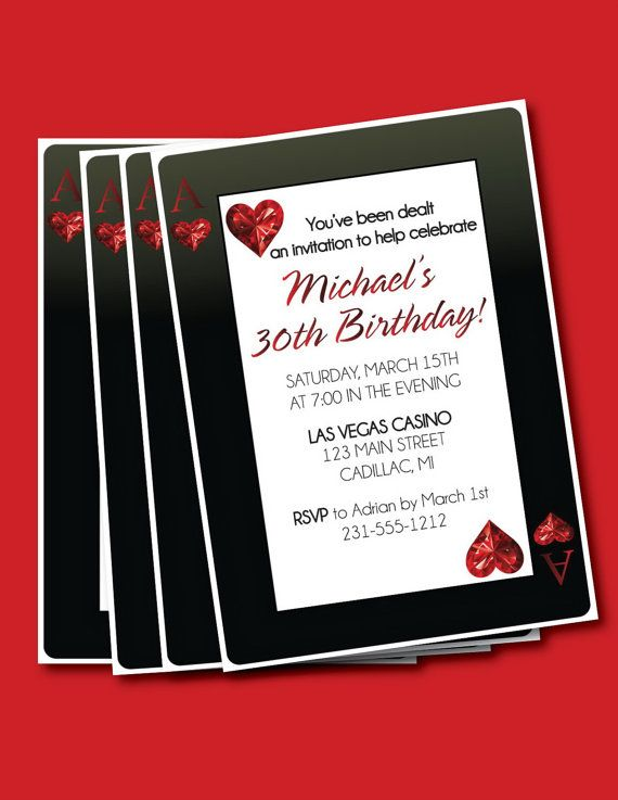 Casino Style 30th Birthday Invitation