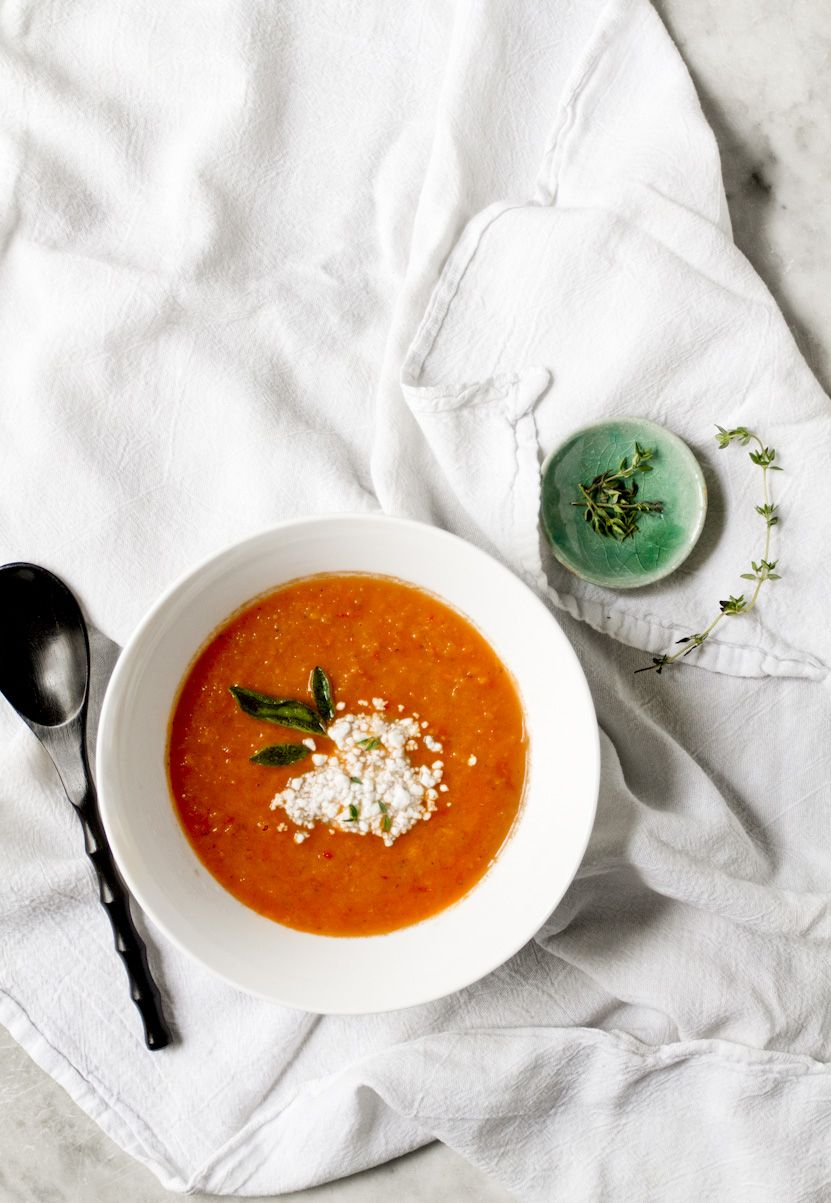 Roasted tomato, red pepper and fennel soup with fried sage and feta ...