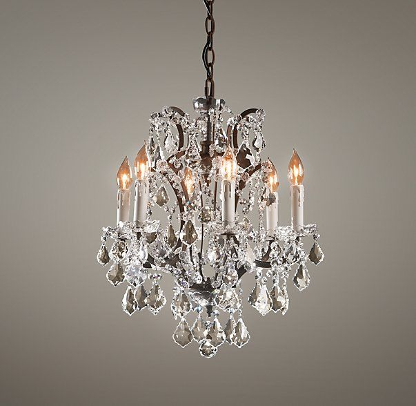 19th C Rococo Iron Amp Crystal Small Chandelier Painted