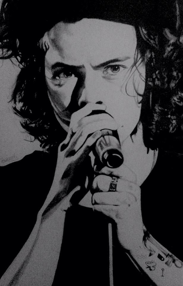 Another drawing of Harry Styles from One Direction.