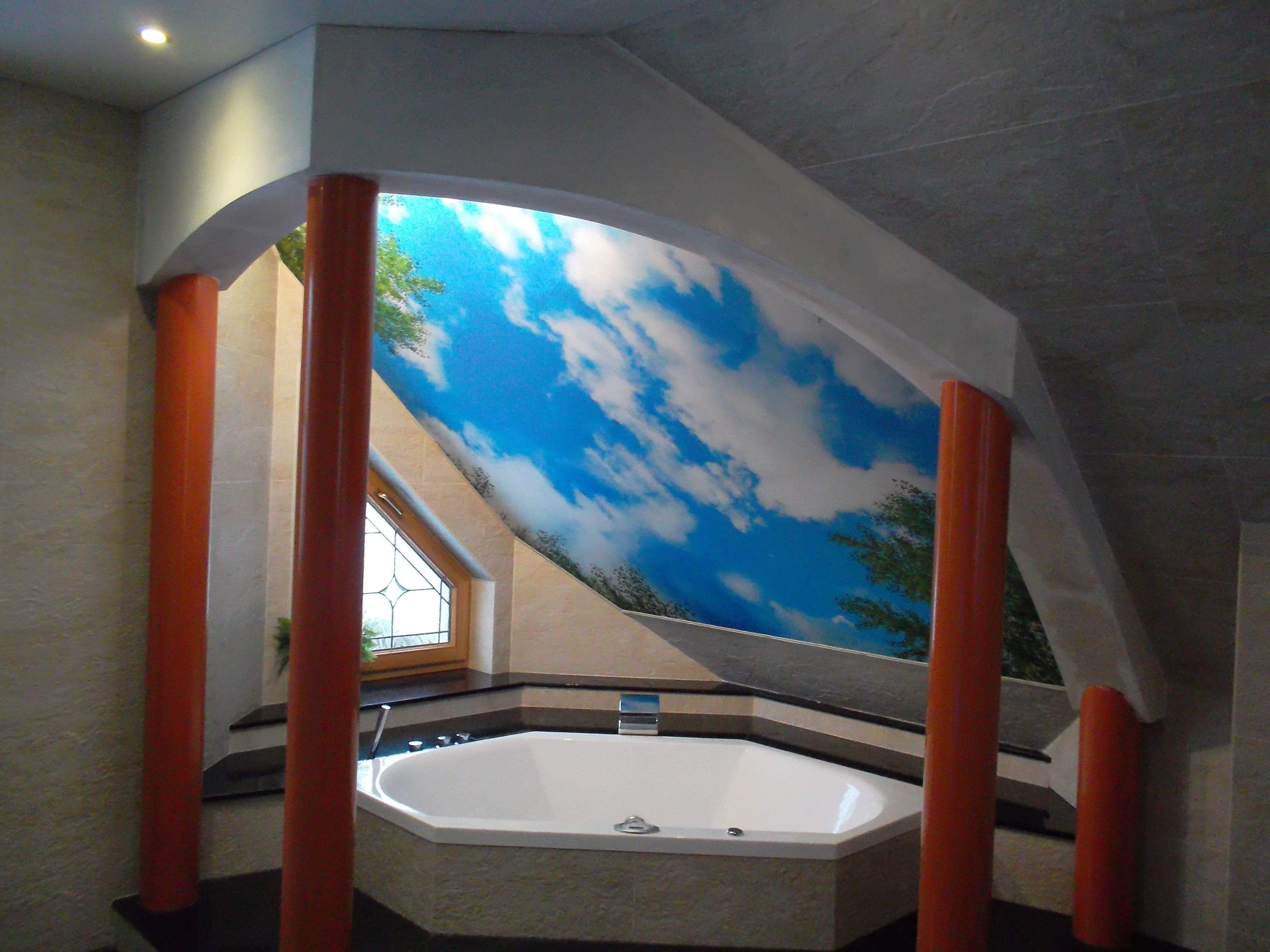 Bedruckte Spanndecke Wolken Himmel Mit Baumen Geplant Und Montiert Durch Meyer Spanndecken Beschichtungstechnik Spanndecken Deckenverkleidung Decke