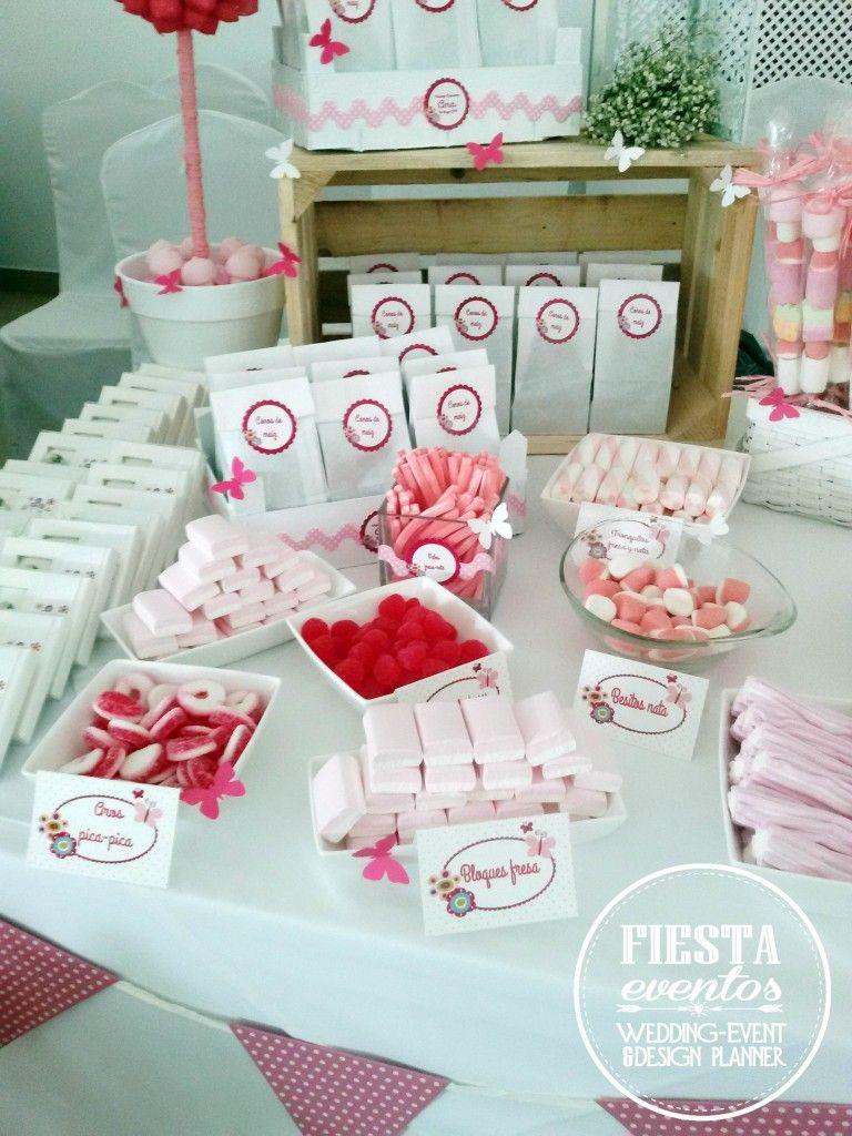 Mesa dulces primera comuni n ana fiestaeventos for Mesas dulces comunion nina