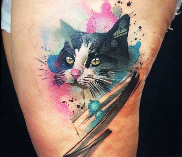 Cat Tattoo By Pablo Ortiz Post 24615 Cat Tattoo Designs Cat Tattoo Watercolor Cat Tattoo