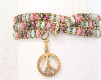 avvolgere braccialetto perlina superduo multicolor di beadnurse