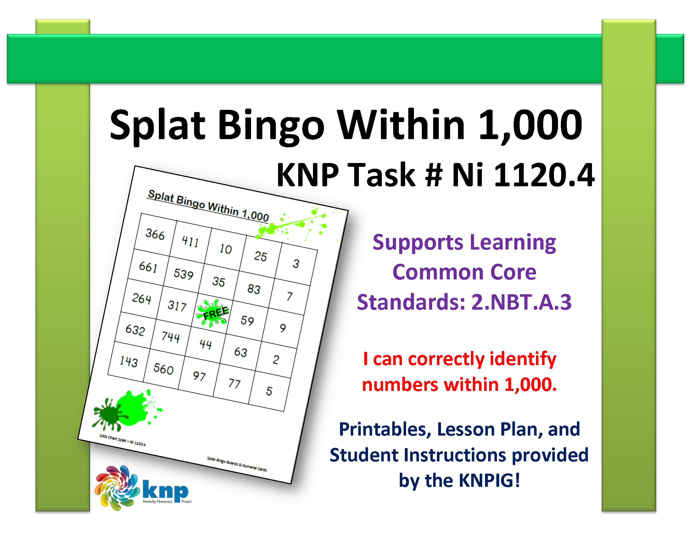 Splat Bingo Within 1 000