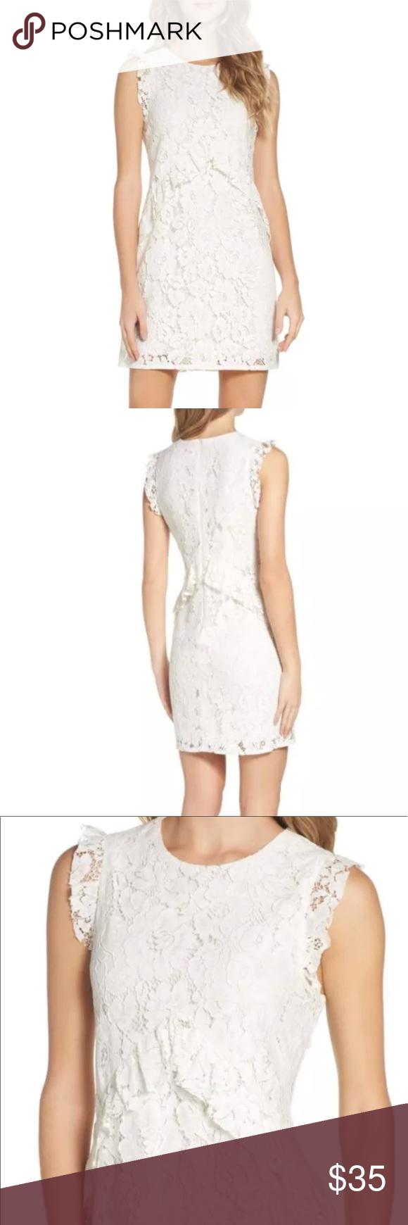 Charles Henry White Ruffle Lace Shift Dress Size 8 Lace Shift Dress Lace White Dress Dresses [ 1740 x 580 Pixel ]