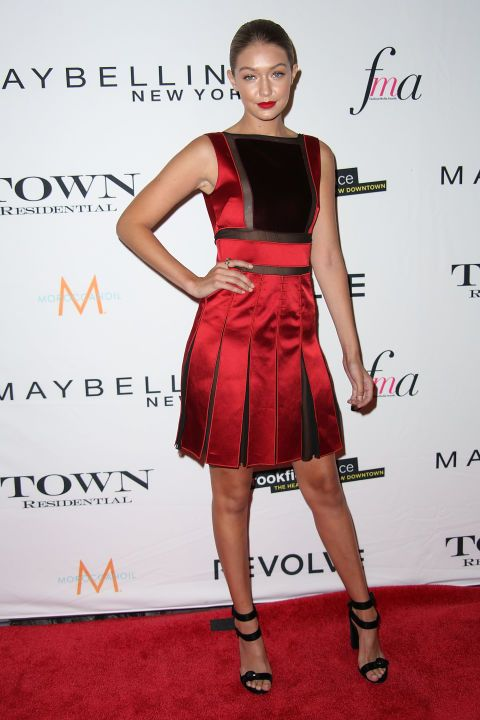 Gigi Hadid attending the Daily Front Row's Third Annual Fashion Media Awards, dressed in Tommy Hilfiger.