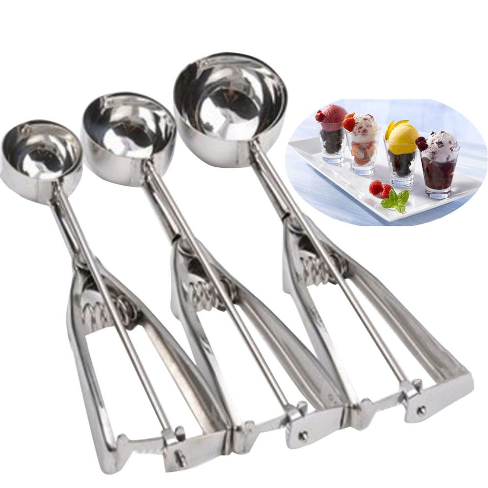 hot sale 3 pcs lot stainless steel ice cream scoop spoon melon baller small middle large size. Black Bedroom Furniture Sets. Home Design Ideas