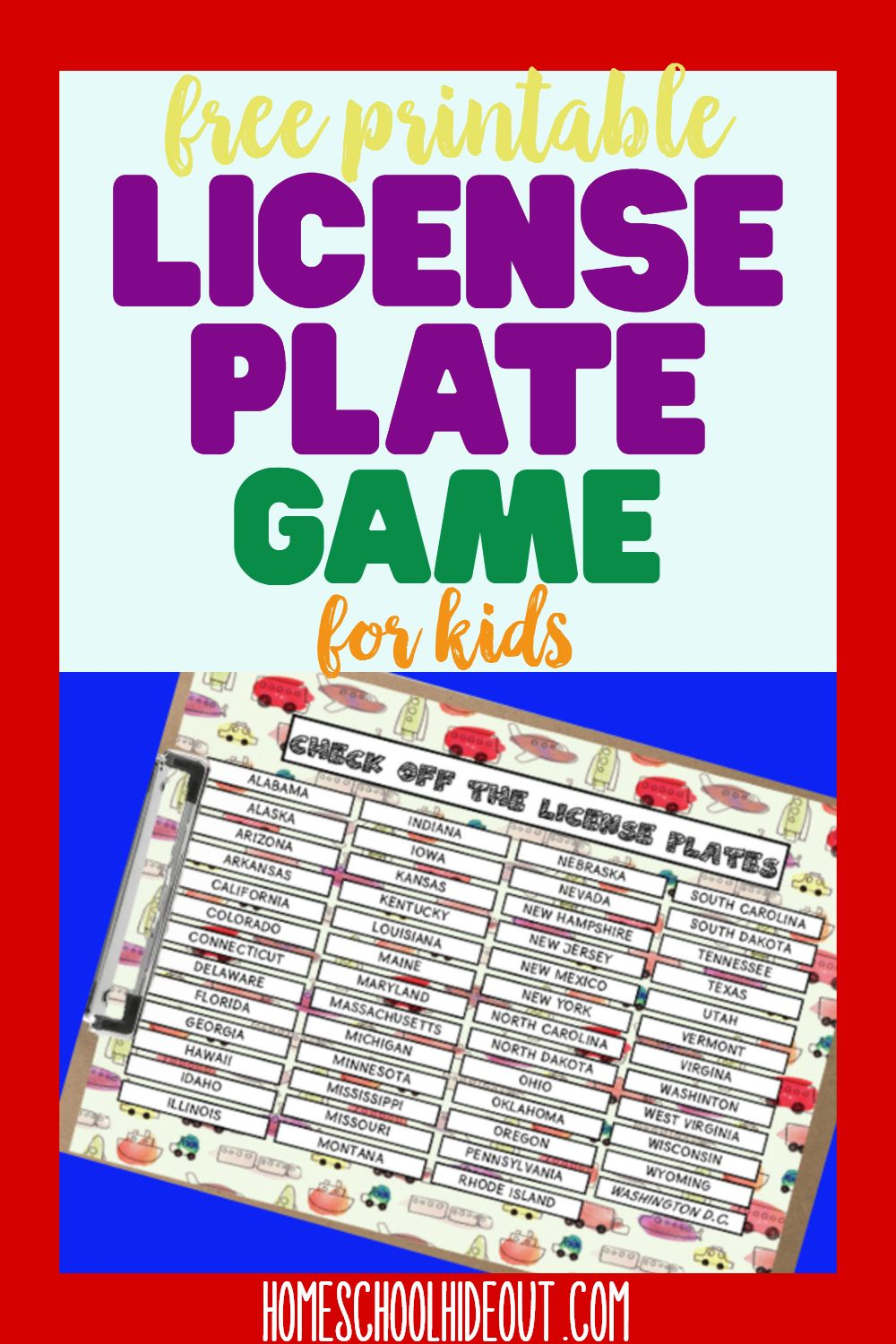 Printable License Plate Game Fun learning, Games for