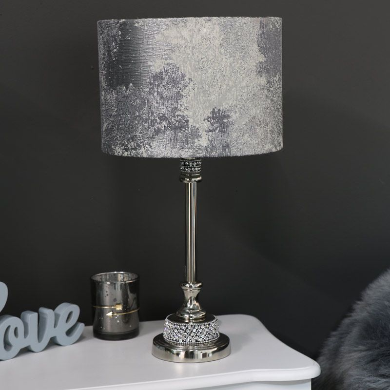 Nickel Diamante Table Lamp With Silver Marble Shade Decor Lamp Lighting Silver Silverdecor Diamonte Decor Mydecor Homedec Lamp Table Lamp Silver Decor