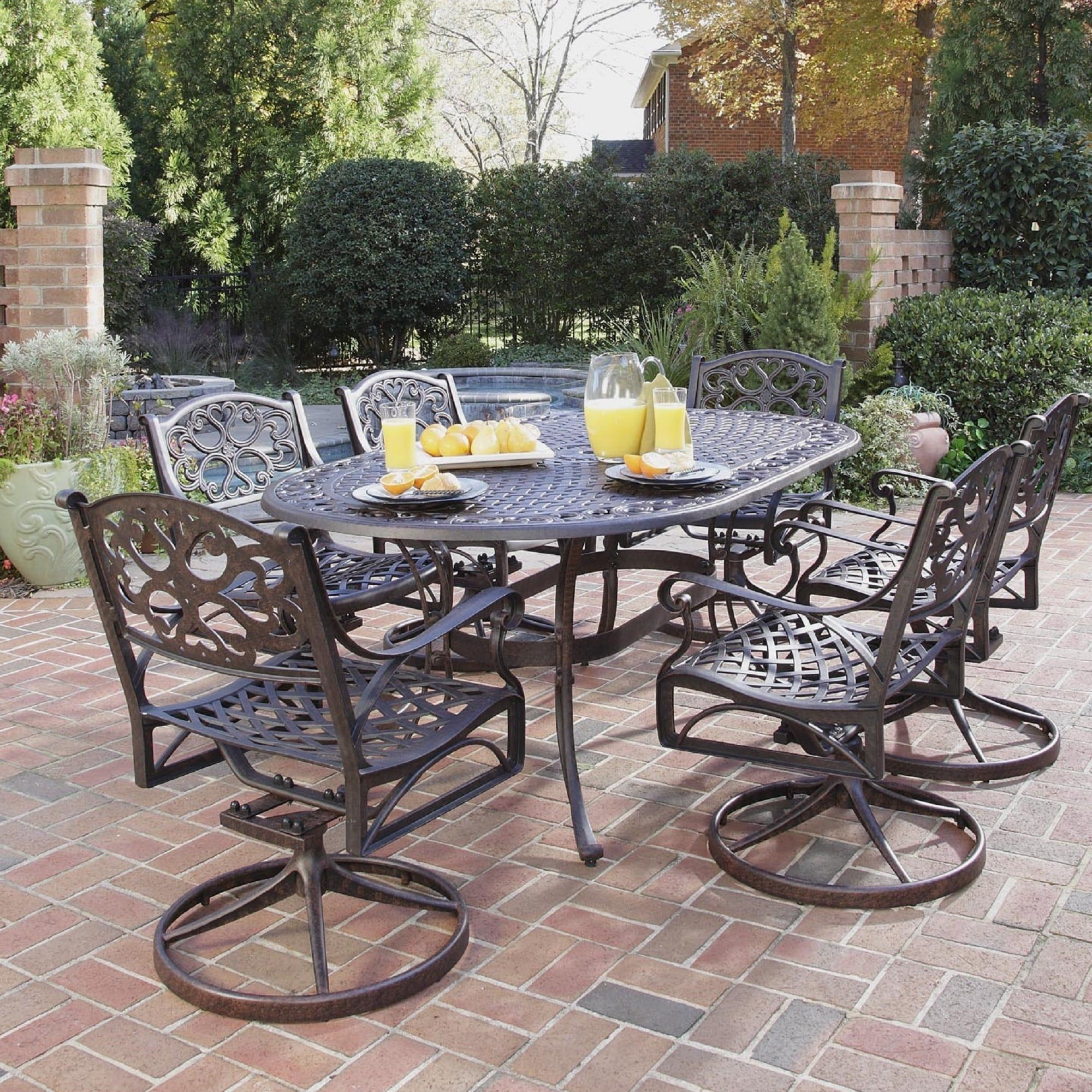 Patio Furniture Sets With Swivel Chairs.Home Styles Biscayne 7 Piece Dining Set 72 Oval Table With 6 Swivel