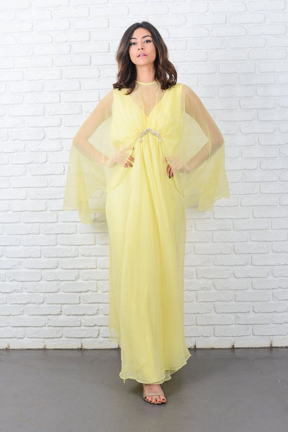 Vintage 70s Yellow Cape Sleeve Dress Sheer by thekissingtree
