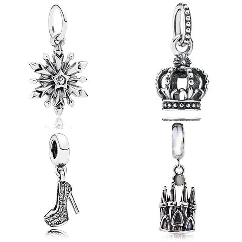 Frozen snowflake Genuine 925 sterling silver dangle fit  European Charm Bracelet #Handmade