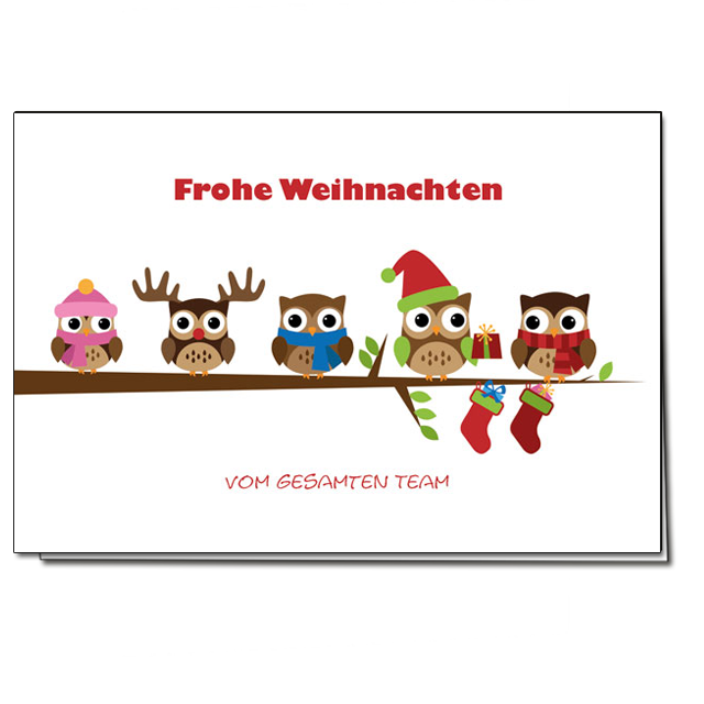 Lustige Weihnachtskarten mit Eulen Motiv! Online bestellen - nur bei uns! top-kartenlieferant