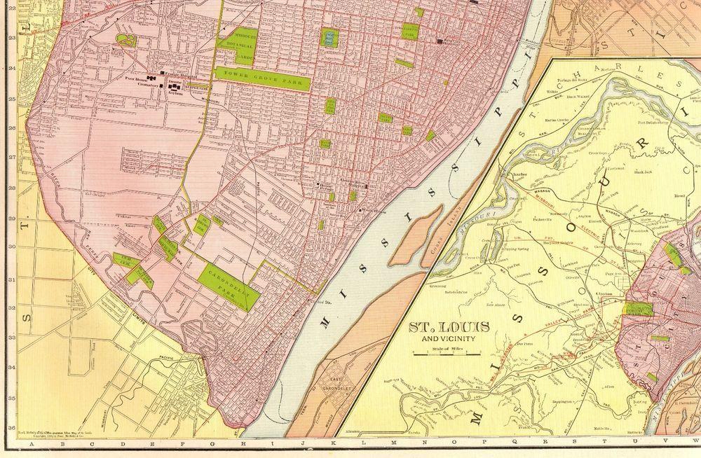 Details about 1914 Rare Size Antique ST LOUIS Map of St Louis ...