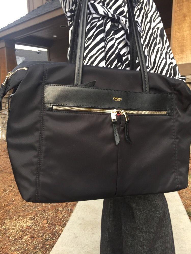 ba06cc2189e0 Knomo London Curzon Black Nylon Saffiano Leather Trim 15 inch Laptop Bag  Mint