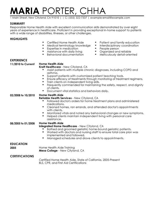 unforgettable home health aide resume examples stand out excellent - simple job resume examples