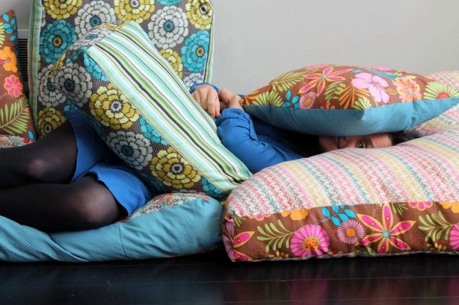 How To Create Your Own Colorful Jumbo Floor Pillows Floor Pillows Giant Floor Pillows Pillows