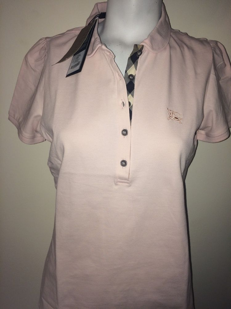 3a0574f8df5 Burberry Brit Women CHECK PLACKET POLO SHIRT Color ice Pink  Burberry   BasicTee