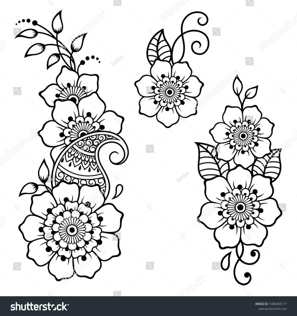 Set Mehndi Flower Pattern Henna Drawing Stock Vector (Royalty Free) 1386365177