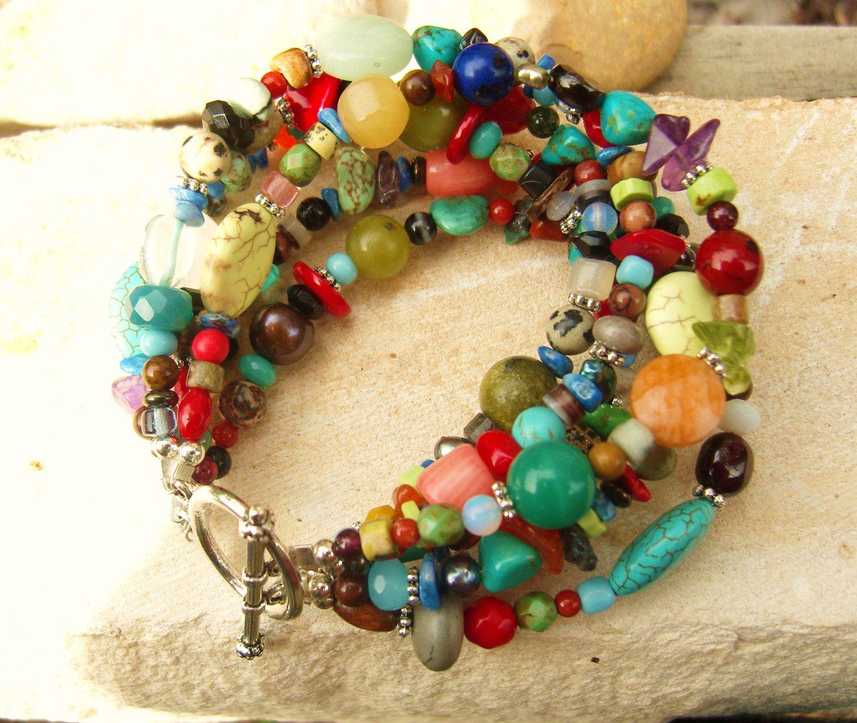 Multi Color Semi Precious Stones Six Strand Toggle by JensBeadBox. $32.00, via Etsy.
