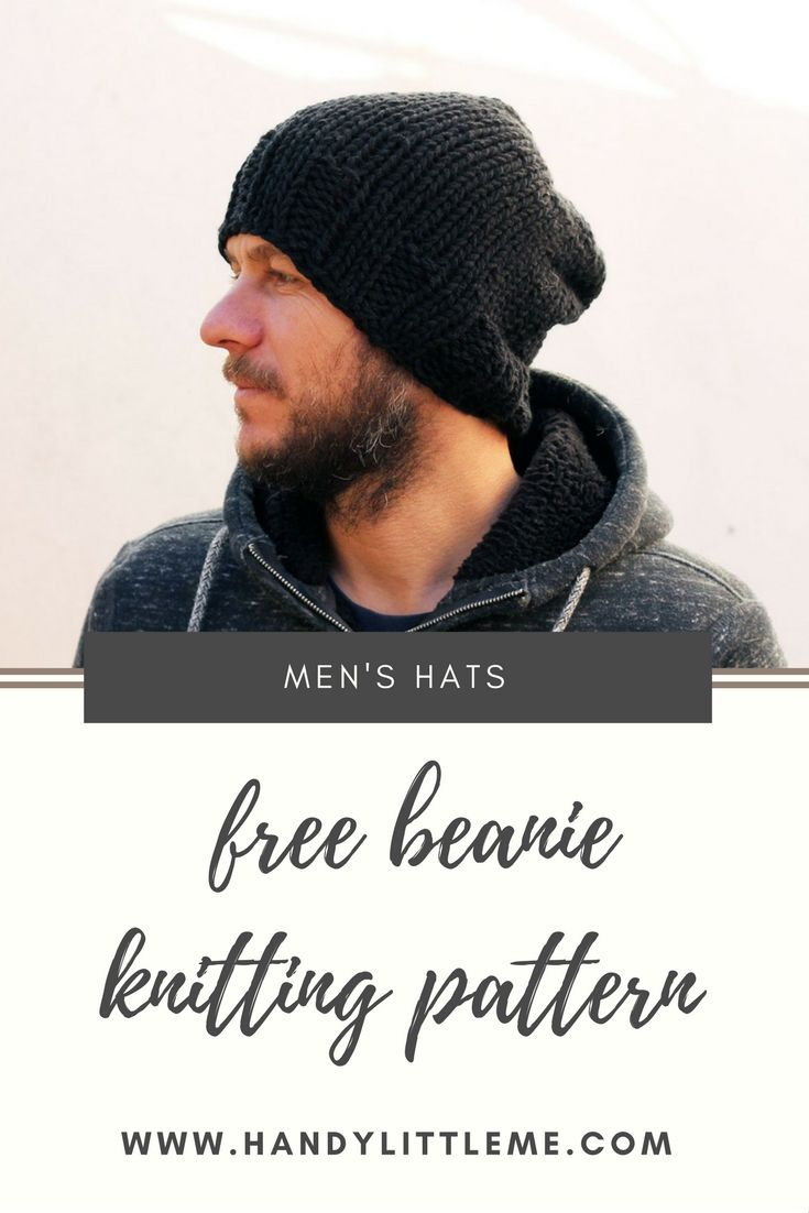 Knit an easy mens beanie hat with this free knitting pattern ...