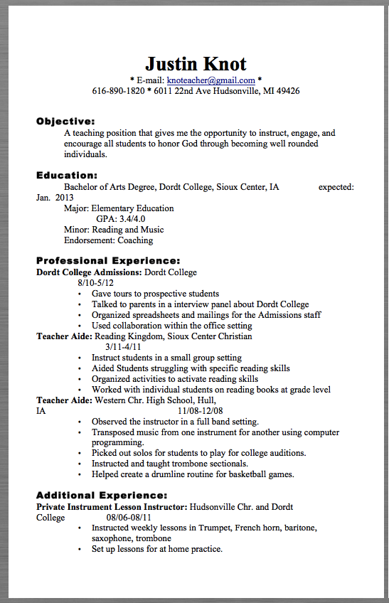 Teacher Resume Examples  Justin Knot  EMail Knoteacher