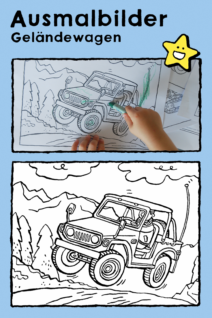 Geländewagen, Ausmalbilder, Malvorlagen, Zeichnungen, Kinder
