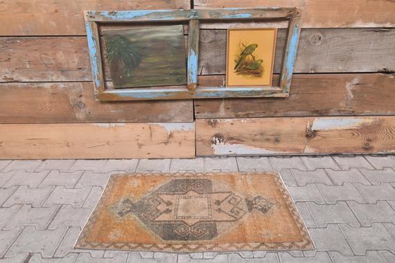 "Photo of 1'7"" x 3'2"" Ft Turkish Vintage Oushak Bathroom Rugs, Door Mat Carpet, Handmade Wool Oriental Doormat, Original Handmade Bathroom Rug – Newest Rug Collections"