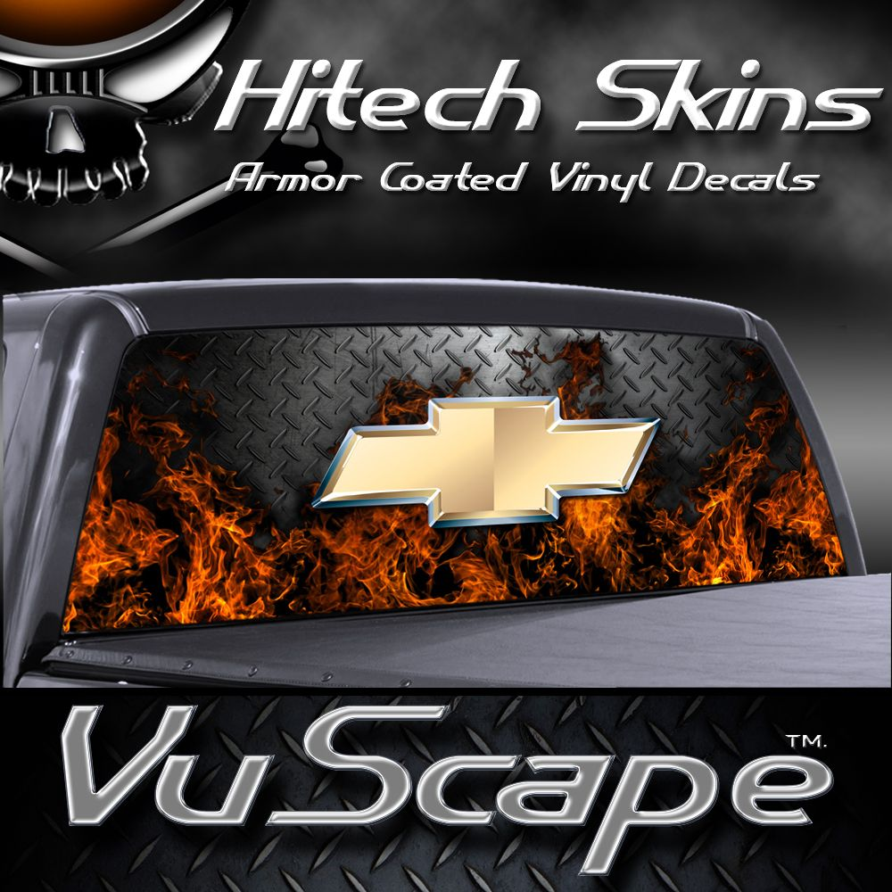 Vuscape Truck Rear Window Graphic MADE IN MICHIGAN CHEVY FIRE - Chevy decals for trucks