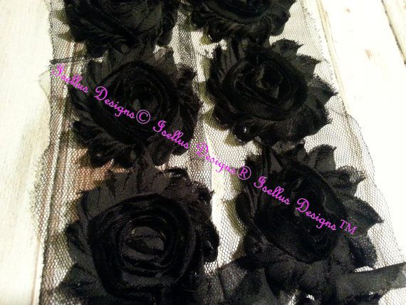 6 Piece  2.5 Black Shabby Flowers by IsellusDesigns on Etsy