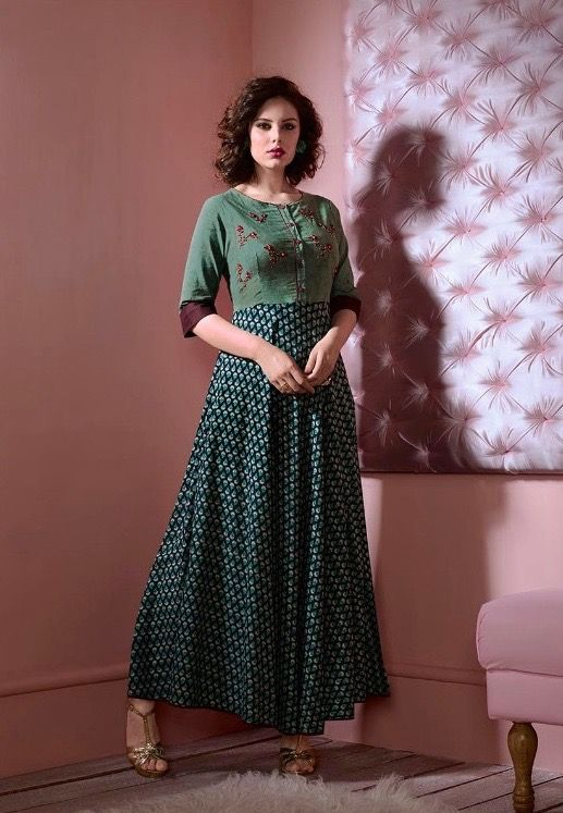 western #cotton #gowns | green western gown | party wear ...