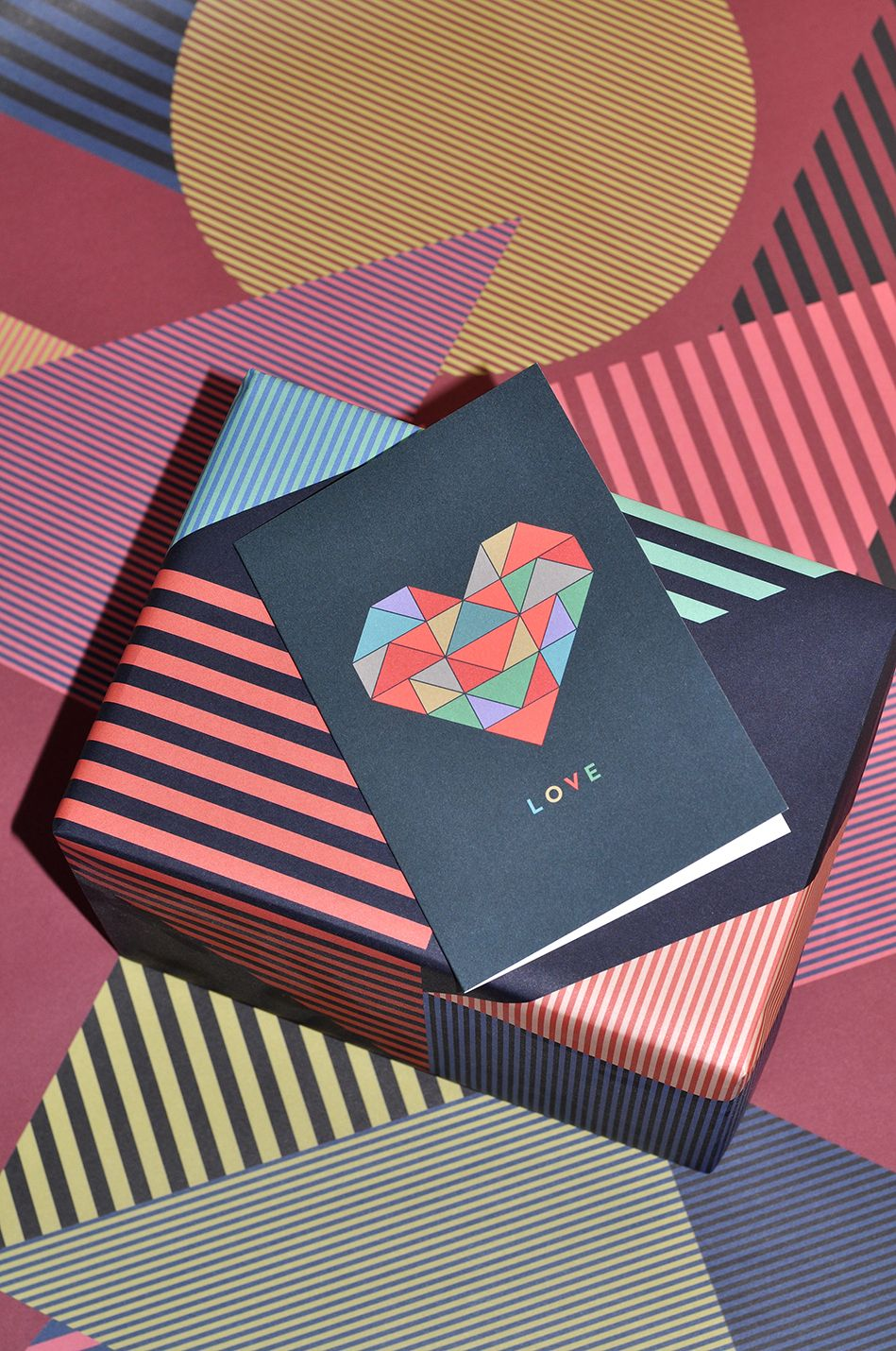 """Wrapping Paper """"Aligned Red"""",  Wrapping Paper """"Aligned Blue"""", Greeting Card """"Love"""""""