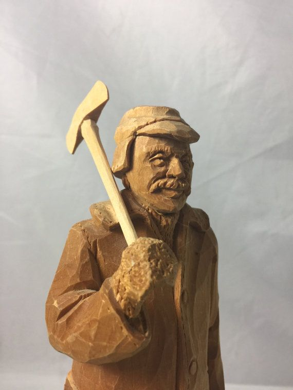 Vintage lumberjack wood carving wooden folk art hovington