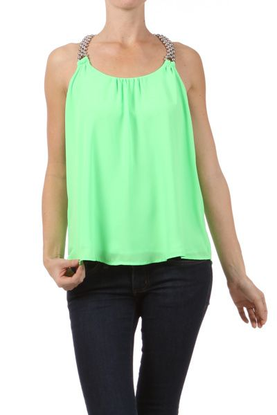 Green Solid Sheer Beaded Top www.bluechicboutique.com $25.99