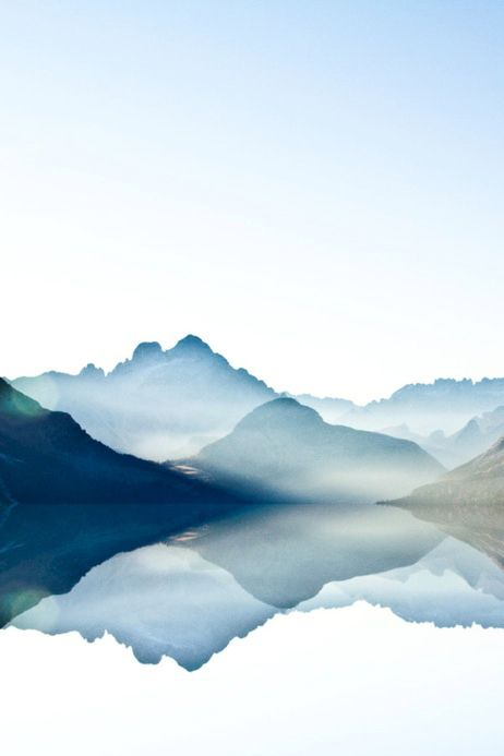 Surreal Photo Art Watercolor Mountains Reflection Dreamy