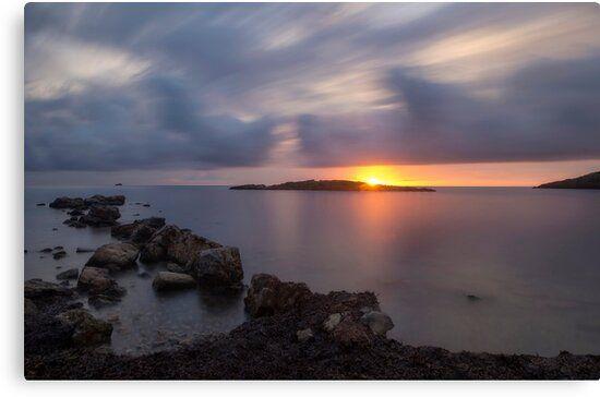 Lienzo de un amanecer en Sa Sal Rossa de Ibiza, Islas Baleares
