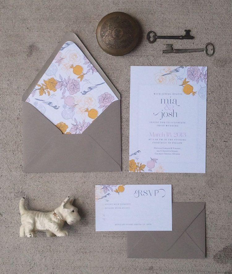 Printable Wedding Invitation and RSVP card Sun Giant