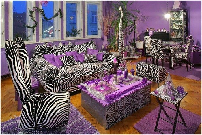 Zebra Print and lavender living/dining room | Zebra print ...