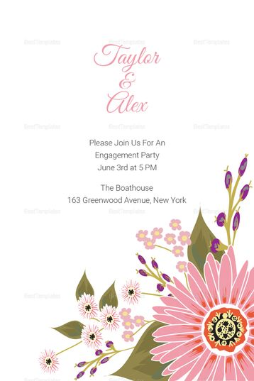 Floral Engagement Announcement Card Template Engagement Announcement Cards Engagement Announcement Indian Wedding Invitation Cards