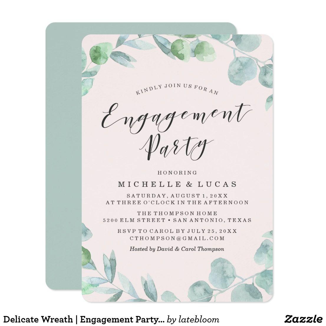 Delicate Wreath | Engagement Party Invitation Elegant engagement ...