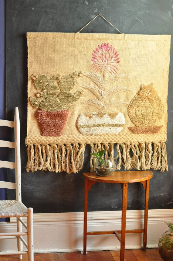 Vintage Rustic Fiber Art Woven Wall Hanging Southwest Style | Woven ...