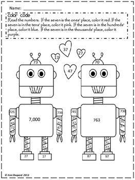 Second Grade Valentine Common Core Math Skill Coloring