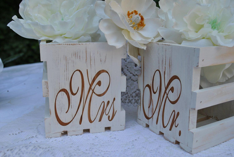 wedding center piece box rustic wooden mr and mrs wedding   box .. $12.00, via Etsy.